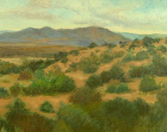 New Mexico Art Print, Ortiz Mountains and Plateau, Southwest Landscape Print from Original Oil Painting by P. Tarlow
