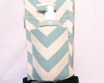 Made to Order Blue/Natural Chevron Single Massage Oil Holster with Belts