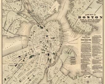 Vintage Map - Boston, Massachusetts 1883