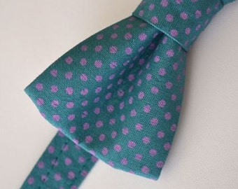 Mens Bowtie- Teal with Purple Dots