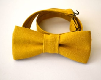 Boys Bowtie Ages 2-10 in Mustard Linen