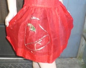Vintage 50s 60s RED Rockabilly Holiday Apron with Christmas bell Sequins ribbons size Medium by KitKatCabaret on Etsy