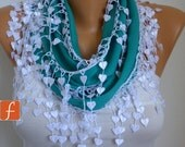 Teal Scarf  -  Pashmina Scarf  -  Cowl Scarf with Lace Edge - fatwoman