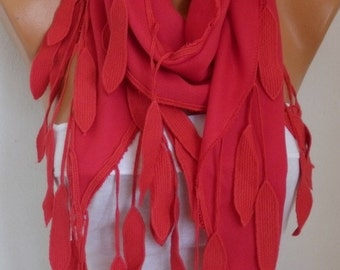 OOAK SCARF, Red leaves Pashmina Scarf,Fall Winter Scarf, Cowl Scarf,Bridesmaid Gift, Gift Ideas For Her Women Fashion Accessories