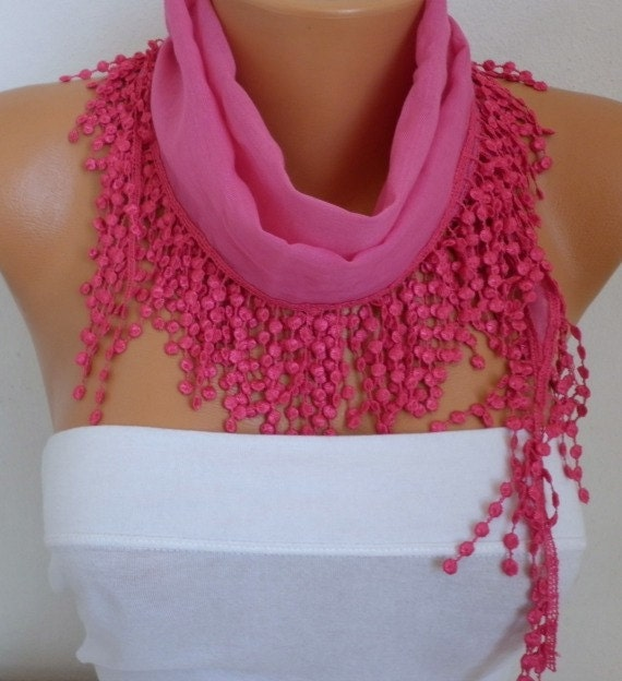 ON SALE - 50% OFF - Spring Scarf Fuchsia Scarf Cotton Scarf  Cowl with  Lace Edge - best selling item scarf