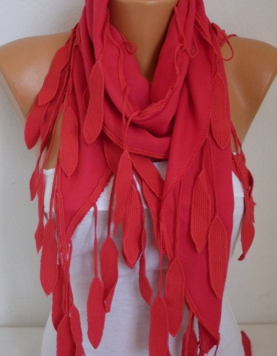 Valentine's Day Gift, Red leaves Pashmina Scarf,Fall Winter Scarf, Cowl Scarf,Bridesmaid Gift, Gift Ideas For Her Women Fashion Accessories