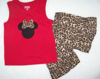 Minnie Mouse Tank + Short Set / Leopard / Cheetah / Disney / Ruffles / Girly / Birthday / Infant / Baby / Toddler / Custom Boutique Clothing