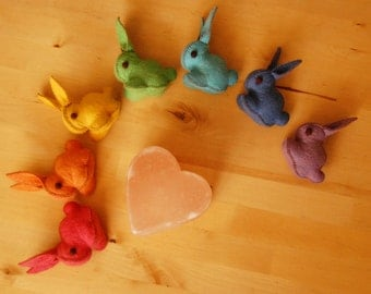 Rainbow Felted Bunnies Set -  REGULAR SIZE BUNNIES rainbow set - Hand made felt pure wool bunnies