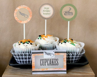 Reptile Party Circles/Cupcake Toppers - INSTANT DOWNLOAD - Editable & Printable Birthday Decorations by Sassaby Parties