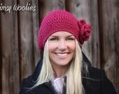 Crochet Beret Pattern: 'Raspberry Beret', Crochet hat, Crochet Flower, Women, Children & Toddler, Winter Fashion