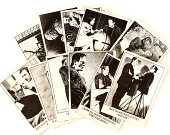 """Vintage """"You'll Die Laughing"""" Trading Cards, Set of 11 (c.1970s) N1 - Creature Feature Collectible, Altered Art Card, Universal Monster Card"""