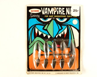 Vintage Halloween Vampire Nails Collectible in Original Package by Bayshore (c.1970s) - Halloween Decor, Collectible Toy, Altered Art