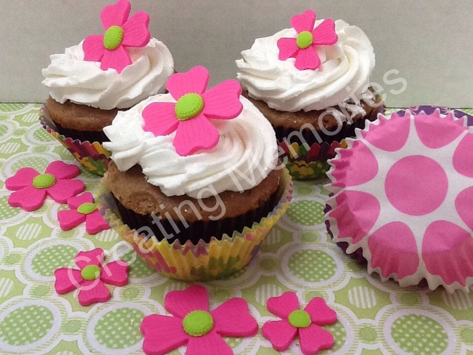 Edible FLOWERS Cupcake or Cake Decorations Pink and Green or