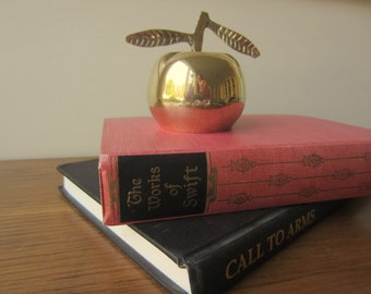 Vintage brass apple bell.  Teachers bell.  Come to dinner bell.  Desk accessory.