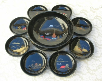 SUMMER SALE Fabulous Japanese Shikki (Lacquerware) Bowl Set, top quality lacquered wood, large bowl & 8 small bowls, for soup/salad/dessert