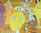 Retro Wallpaper by the Yard 70s Vintage Wallpaper - 1970s Fashion Tribute with Orange Yellow and Purple Models on Mustard