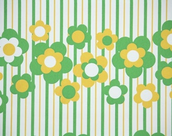 Retro Wallpaper by the Yard 70s Vintage Wallpaper - 1970s Green and Yellow Floral wit Stripes