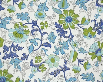 Retro Wallpaper by the Yard 70s Vintage Wallpaper - 1970s Blue and Green Flowers and Leaves on White