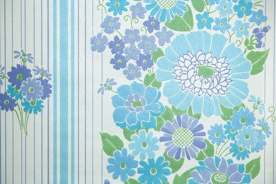 1970s Aqua B...1970s Wallpaper Green Leaves