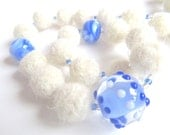 """Natural felt beads necklace """"Bavaria"""", organic pure wool, seed beads, artisan lampwork beads, offwhite, indigo blue, OOAK, one of a kind"""
