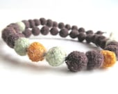 "Plant dyed felt Ahimsa Silk necklace ""Canela"", pure organic wool, seed beads, silver, rosewood, orange, jade green, OOAK, one of a kind"
