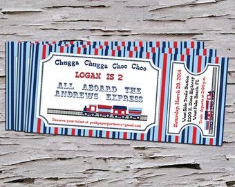 Train Themed Birthday Party Invitation - Train Ticket - DIY- Print at Home