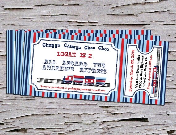 train themed birthday party invitation train ticket diy, Party invitations