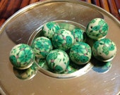 15pcs Green  Springtime Flower Polymer Clay Beads, Multicolor, Round, about 14mm bead size, hole: 2mm