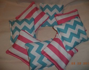 Cornhole bags Chevron stripes Teal and Pink corn hole bags bean bags ACA Regualtion Teal pink wedding