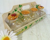 Vintage Wooden Hand Painted Rack & 4 Glass Bottles - Retro Artisan Wall Hanging Organizer Shelf and 4 Apothecary Jars - BoHo Bistro Storage