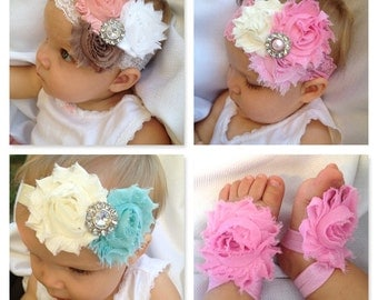 Lace Baby Headbands (3) and 1 pair barefoot sandals