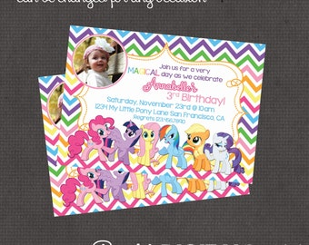 My Little Pony with or without photo Invitation 4x6 or 5x7 digital you print your own- Design 151