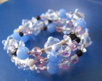 Vintage Wrap Around Art Glass Bracelet Blue Lavender