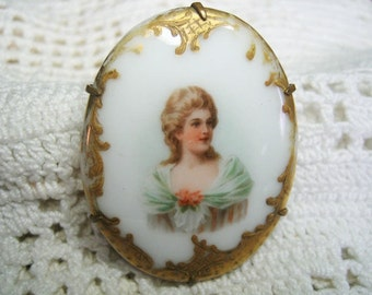 Victorian Edwardian Hand Painted Porcelain Portrait Brooch Pin 120 years old