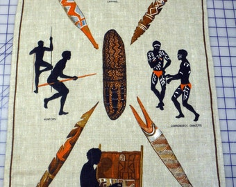 Vintage Australian Linen Tea Towel featuring Aboriginals of Australia
