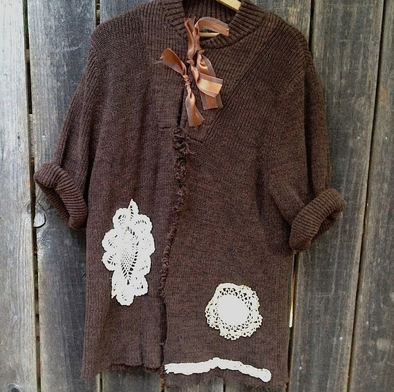 Lets meet for coffee mocha brown vintage lace upcycled rustic prairie girl cardigan lace sweater ooak