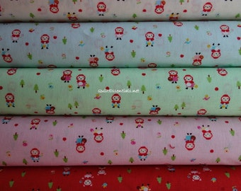 Minny Muu by Lecien - Little Red Riding Hood Kitty -  5 Fat Quarter Bundle