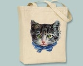 Vintage Grey Tabby Cat with Blue Bow lllustration Canvas Tote - Selection of sizes available