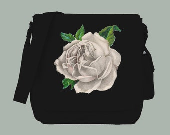 Vintage White Rose Illustration BLACK Canvas Messenger Bag, 15x11x4