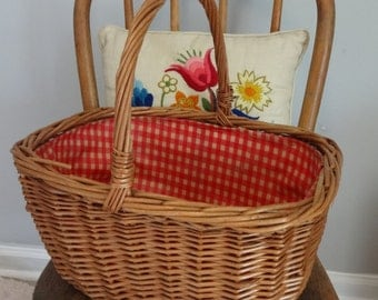 vintage hand woven Market Gathering Basket garden Picnic storage basket
