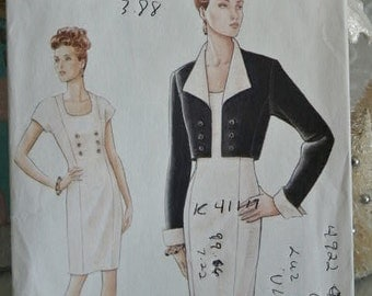 Very Easy Vogue Fitted Dress with Jacket Cuffed Sleeve Scooped Neck  Sewing Pattern 9389 Size 12 - 14