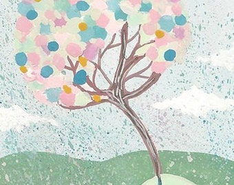 Original Art ACEO Painting Pink Blue Candy Tree by Coramantic