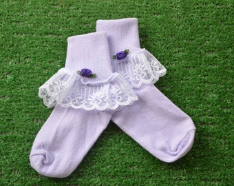 Lavendar -  Lace Socks with Rose for Little Girls - Size 6-7 1/2 (XS) - US Shoe Size 6-11
