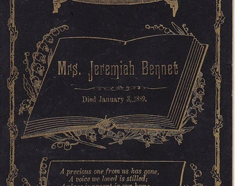 Victorian funeral card for Mrs Jeremiah Bennet died 1889 possibly identification