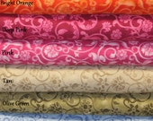 Floral Scroll Fabric/Rust/Orange/Deep Pink/Pink/Tan/Green/Black/Fabric by the Yard/Fabric by the Half Yard/Fat Quarter/PRICE VARIES