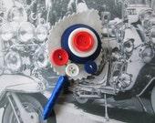 MOD themed Button Buttonhole / Boutonnière Groom Union Jack British Scooter Lambretta Vespa