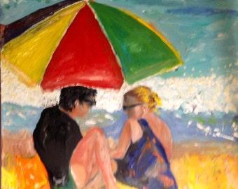 Beach Lovers  Original Oil Painting by Marlene Kurland 20x20 Beach Scene, Blue sea, Sandy Beach