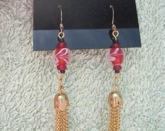 Black,Red and White Swirl Lampwork Bead with Fringe Dangle Earrings ...OOAK...888H