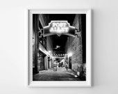 Seattle Pike Place Market - Post Alley at Night Black and White Photography, Urban Cityscape Art - Small and Large Wall Art Prints Available