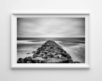 San Diego Art Imperial Beach Black and White Beach Decor - Minimalist Landscape, Waiting Room Art - Large Wall Art Prints Available